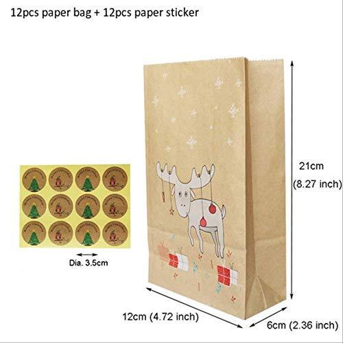 FHFF Kraft Papieren Tas 12 Stks Kerstmis Kraft Papieren Tas Vos Edel Sneeuwvlok Gift Papier Tas Papier Stickers Xmas Snoep Voedsel 12 Stks Edel