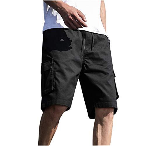 Heren zomer in de vrije natuur casual patchwork overalls plus size sport shorts broek short joggingbroek vrijetijdsbroek panty Medium zwart