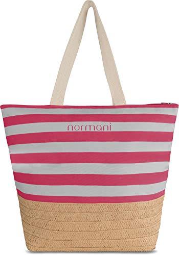 normani Damen Schultertasche - extra großes Volumen - Tasche Handgepäck - mit Innentasche Farbe Burgund