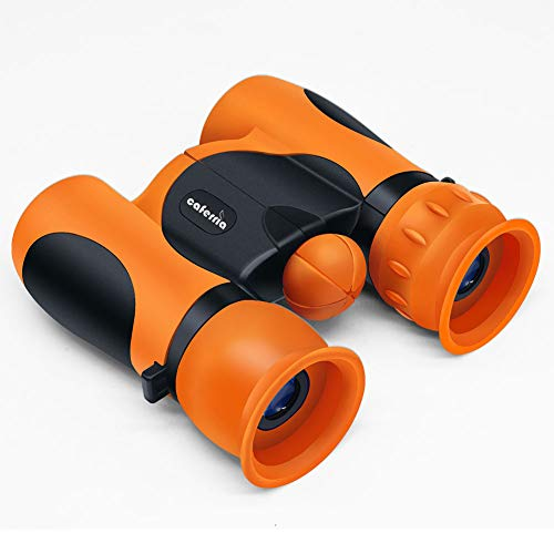 Caferria Binoculars for Kids Best Gift Toy 8x21 High Resolution Real Optics Compact Kids Binoculars Shockproof Mini Telescope for 3-12 Years Boys Girls Children Bird Watching Outdoor Games (Orange)
