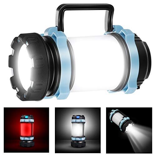 EXTSUD Camping Lantern Rechargeable, 1000 Lumen CREE LED Torch Rechargeable, Ultimate Rechargeable LED Lantern and 4000mAh Power Bank, 4 Light Modes for Night Fishing, Hunting
