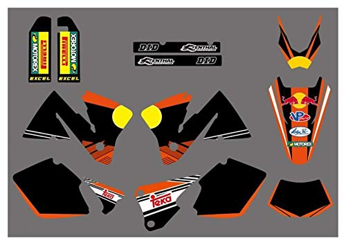 LIUM Schwarze Motorrad-Teamgrafik mit passenden Hintergründe Kit für MXC EUL 250 300 350 400 520 2001 – 2002 Universal lingge