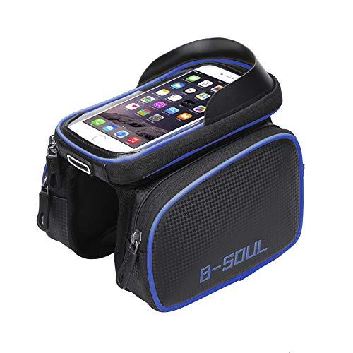 Sacoche pour Cadre de vélo, Sac étanche pour Porte-téléphone pour vélo, Sac à Tube Avant à écran Tactile en PU, pour iPhone XS Max XR X 8 7 6 6S Plus Samsung S9 LG 6,2 Pouces ou Moins,Blue