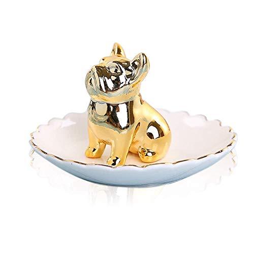 Lependor Soporte para anillo de elefante Bandeja de joyería para la boda, el cumpleaños de Navidad, Decoración de cerámica hecha a mano Bandeja para animales pequeños (Dorado Buldog)