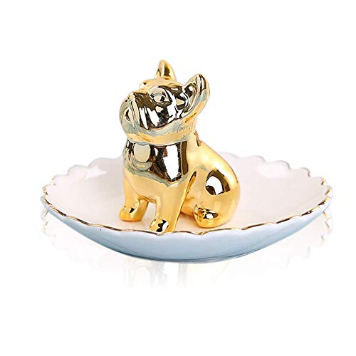 Lependor Dog Ceramic Jewelry Tray Ring Holder Trinket Dish Necklace Earrings Rings Jewelry Organizer Display Jewelry Trinket Holder Home Decoration - Gold Bulldog
