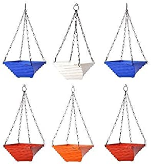 MB TRADERS Twister Hanging Chain Pot with Multicolor Decorative Twister Pot (Pack of 6, Twister Hanging Container Set)
