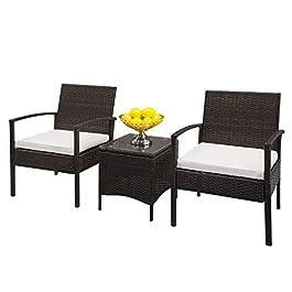 AlightUp Ensemble Salon de Jardin 2 Personnes en Résine tressée, 2 Chaises avec Coussins Blanc, Table Basse – Plateau…