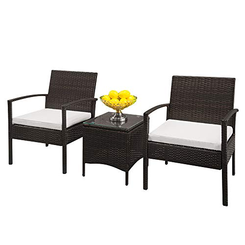 soonwell Rattan Garden Furniture Bistro Set 3 Pieces Patio Lawn Balcony Furniture for Balcony,Yard, Garden (2 Armchairs + 1 Glass Coffee Table)