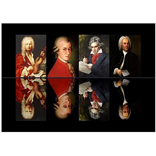 Los compositores: pinturas de Beethoven, Mozart, Bach y Vivaldi impresiones artísticas en lienzo Arte de la pared para la decoración del dormitorio de la sala de estar -60x90cm Sin marco