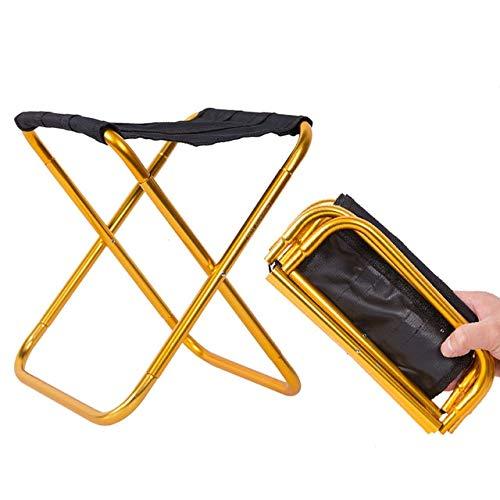Silla de Aluminio Plegable Plegable para Exteriores Taburete Asiento Pesca Camping Silla de Pesca Plegable para Exteriores Portátil Ultraligero - Negro y Dorado