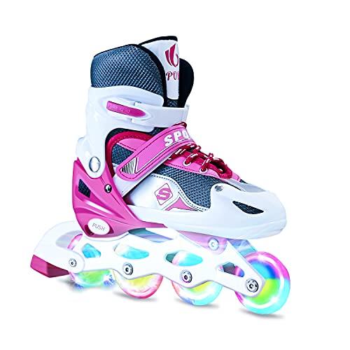 Verstellbar Inline Skates für Jungen Mädchen Anfänger, Drinnen draußen Volle Leuchträder Rollschuhe, Sicher und langlebig Inlineskates für Kinder und Erwachsene