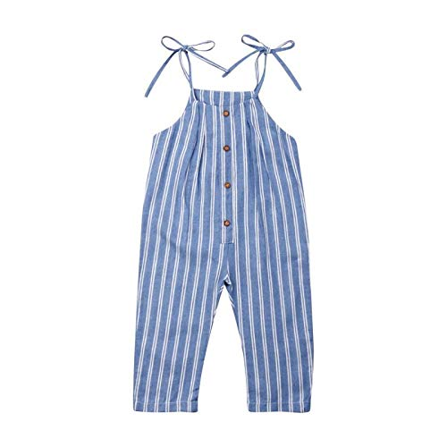 Find Discount Kids Baby Girls Striped Romper Toddle Sleeveless Blue White Stripe Halter Buttons Jump...