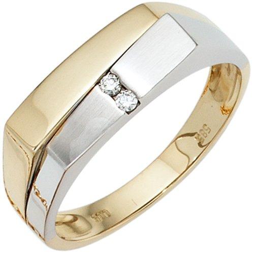 Herren Ring 585 Gold Gelbgold Weißgold teilmattiert 2 Diamanten Brillanten Gr. 64