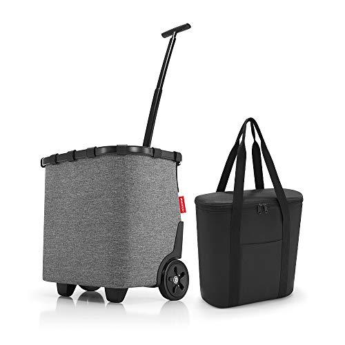 Set aus reisenthel carrycruiser, reisenthel thermoshopper, Einkaufstrolley mit Kühltasche, Twist Silver + Black (70527003)