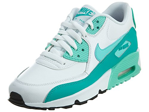 Nike Air Max 90 Letter Big Kids Style Shoes : 833376, White/Hyper Turquoise/Clear Jade, 6