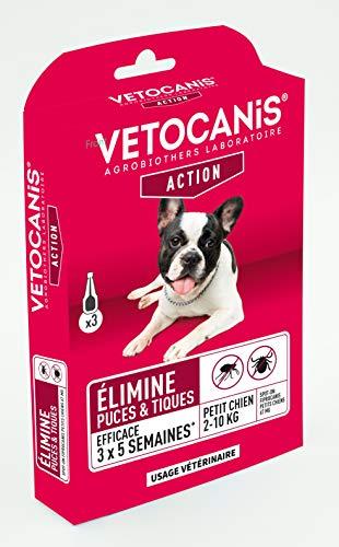 Vétocanis - Fiprocanis Pipette Anti-Puces Anti-Tiques Chien - Traitement et Protection Infestations - Antiparasitaire Petit Chien 2-10 kg - Lot de 3