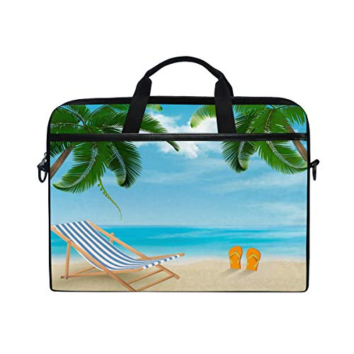 HaJie Laptop Bag Tropical Palm Tree Leaves Hawaii Beach Computer Case 14-14.5 in Protective Bag Travel Briefcase with Shoulder Strap for Men Women Boy Girls
