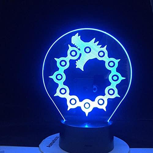 Luces de anime 3D LED, los siete pecados mortales meliodas anime luz nocturna, regalos de sorpresa meliodas dragón Wraith prohibición zorro codicia oso grizzly led luces de noche