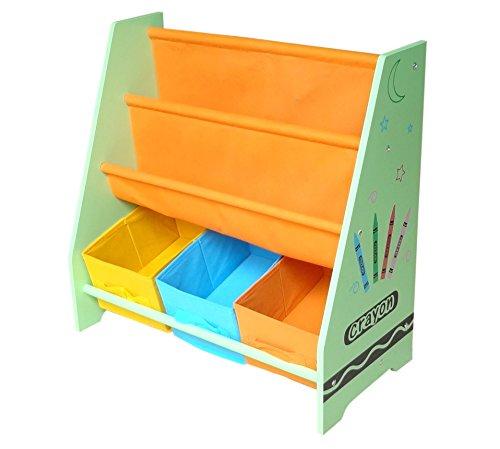 Kiddi Style les Enfants Bois Bibliothèque en toile multicolore, étagère rangement pour enfant