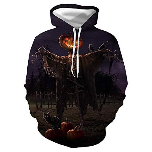 Simmia home Sweat à Capuche 3D Imprimer Pull Sweatshirt,Digital Print Loose Couple Shirt, Scarecrow, M,Décontracté Pullover pour Garçon Fille Ado