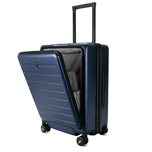 LEVEL8 Carry On Suitcases 20in Hardside Spinner Luggage with Front Pocket Lock Cover (Blue,20Inch)