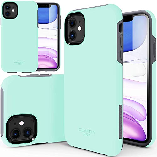 TEAM LUXURY iPhone 11 Case, [Clarity Series] Ultra Defender Shockproof Hybrid Slim Protective Cover Phone Case for Apple iPhone 11 6.1' (Soft Mint/Gray)