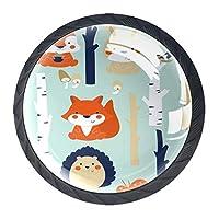 ネジ付きドレッサー引き出し用4個の黒いキッチンキャビネットノブ丸い家の装飾-漫画のウサギのバニー動物鳥のクマの森の蝶-副本