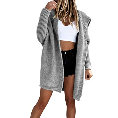 Sfit Damen Strickjacke Lange Cardigan Strickmantel Herbst Winter Sweater mit Kapuze Grob Strickpulli Open Front Strickcardigan Dicke Kapuzejacke Mantel Cover Up Outwear