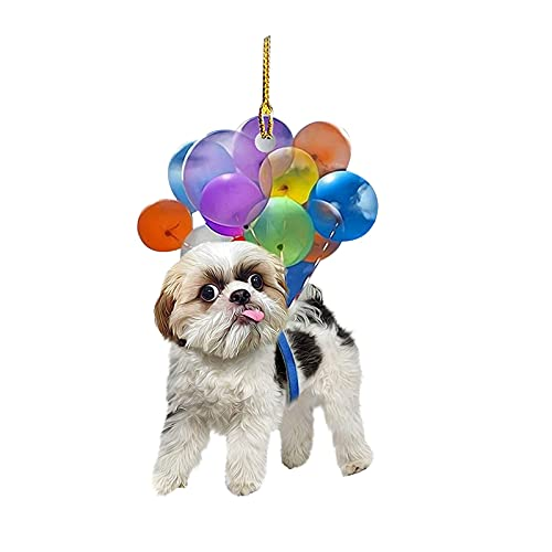 Dog Hanging Ornament for Car Mirror Car Dog Hanging Ornament with Colorful Balloon Hanging Ornament Decors 2D Hanging Decoration Car Interior Accessories Best Gift for Dogs Lovers (A)