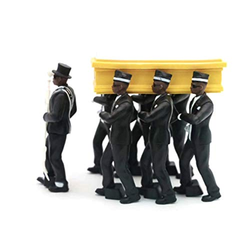Forart Ghana Pallbearers Dancing Team, Ghana Dancing Cosplay Toys, African Black Man Carrying Coffin Dance Action Figures, Coffin Casket Playset