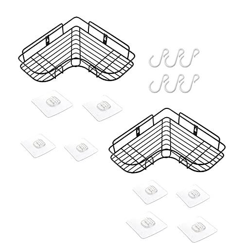 DOROCH Cuarto de baño Estante de la Esquina Baño Organizador Cesta de la Pared Estantes montados en la Pared Ducha Champú Almacenamiento Titular de Rack para Accesorios de Baño (Color : Black 2pcs)