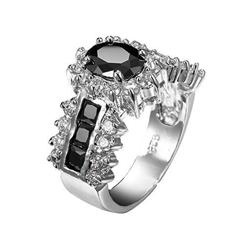 Adokiss Joyería para mujer, chapado en plata, anillo de lujo, corte ovalado, circonita cúbica, anillo de promesa para mí mismo para tu esposa/madre
