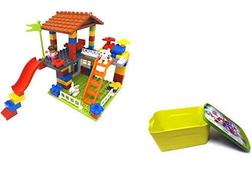 Modbrix Große Bausteine Box Abenteuer Spielplatz mit Rutsche und Baumhaus, 89 teiliges Lernpielzeug für Kleinkinder