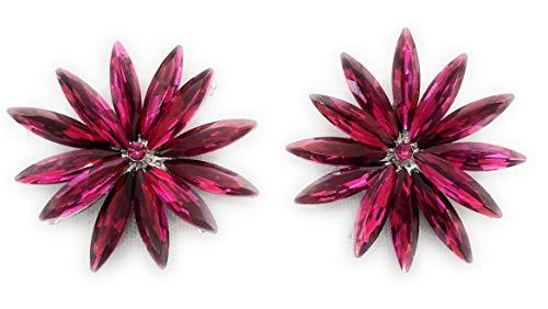 Pendientes Cristales Colores Mujer Fiesta Boda Pendientes Elegantes con Forma de Flor...