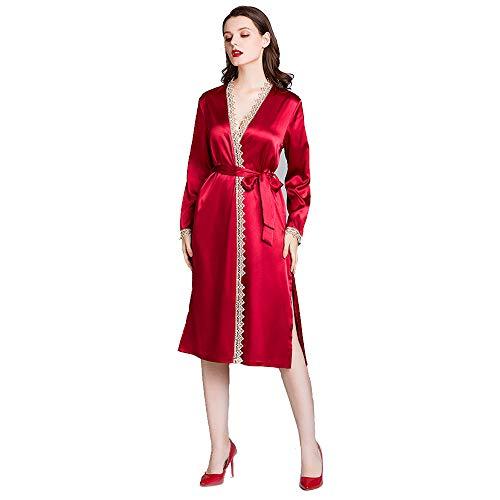 Vrouwen Kimono Robes, Stain Lichtgewicht lang gewaad Knit Badjas Soft nachtkleding V-hals Dames Loungewear voor de bruid Bridesmaids,M