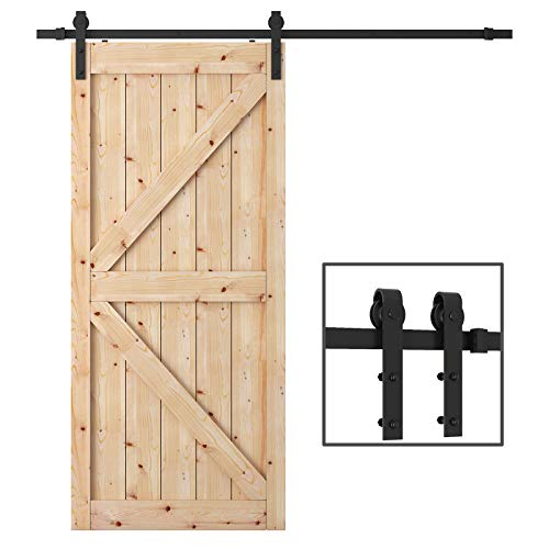 TCBunny 6.6 Feet Sliding Barn Door Hardware Kit Superior Quality Track Kit Antique Style (Black)