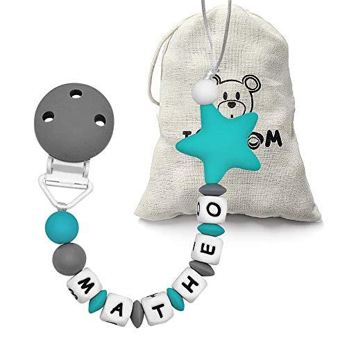 RUBY - Chupetero personalizado para bebe con nombre bola silicona antibacteria con pinza acero inoxidable. Chuptero Estrella (Verde)
