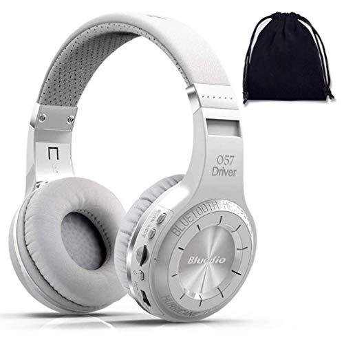 Bluedio H Plus (Turbine) Kabellose Bluetooth 5.0 Stereo-Kopfhörer mit Sprachsteuerung/Cloud-Funktion, 57 mm Treiber, schockierender Bass, On-Ear-Kopfhörer (mit SD-Kartenslot/FM-Radio, Weiß