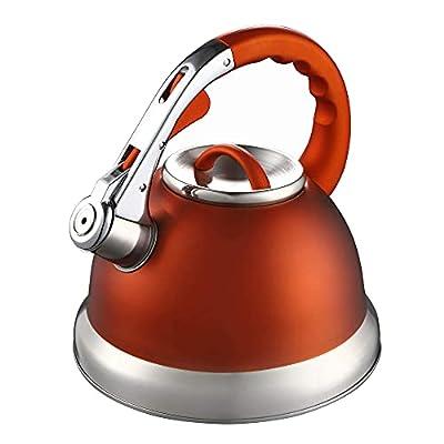 Kaisa Villa Tea Kettle Stovetop Teapot Stainless Steel Whistling Teakettle with 3.5 L/3.7Quart(Orange)