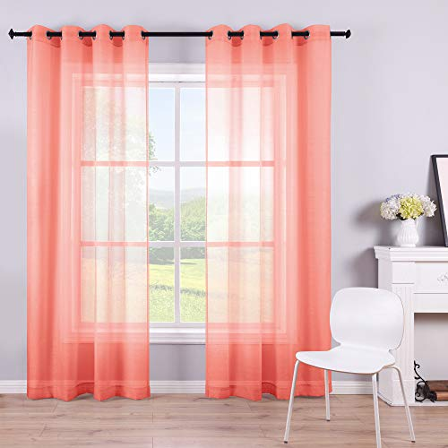 Coral Curtains 84 Inch Length for Bedroom Set 2 Panels Grommet Faux Linen Semi Voile Window Sheer Curtains for Living Room Decor 52x84 Long