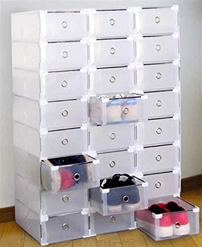 Homgrace 20 scatole Trasparente Plastica Shoe Scatole con Coperchio Impilabile Pieghevole Scatola di Scarpe