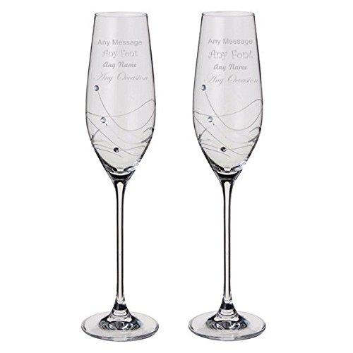 Dartington Glitz Paire de flûtes à champagne personnalisables avec cristaux pour toutes les occasions