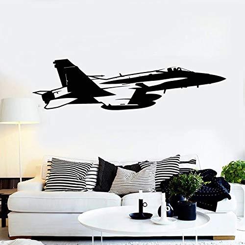 Ofomox Avión Pegatinas de Pared calcomanías de Vinilo Fighter Boy decoración del Dormitorio Air Force decoración de la habitación de los niños Pegatinas de Pared 56x15cm