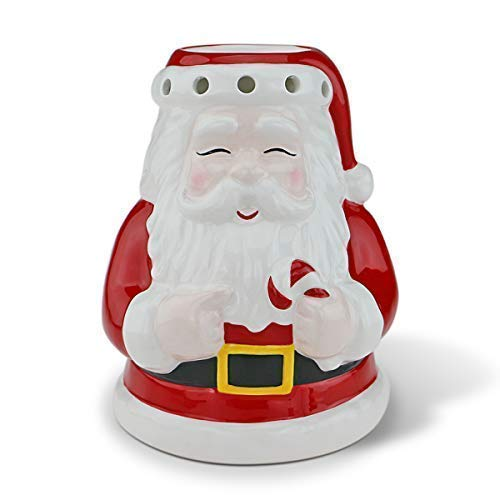 STAR MOON Christmas Smiling Santa Claus Wax Warmer, Wax Warmer for Scented Wax, Wax Burner Essential Oil Burner Tealight Candle Holder Candle Warmer for Christmas Decoration