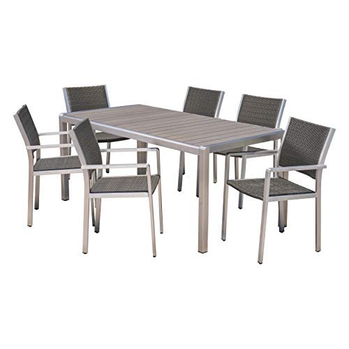Christopher Knight Home 305438 Coral Outdoor 7 Piece Dining Set with Table, Gray