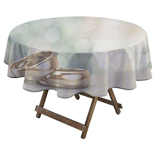 Zara Henry Wedding Anti-Wrinkle Tablecloth Celebration Two Wedding Engagement Rings on Bokeh Abstract Background Suitable, Styles and Sizes of tablecloths D 60' Gold Pale Green Blue