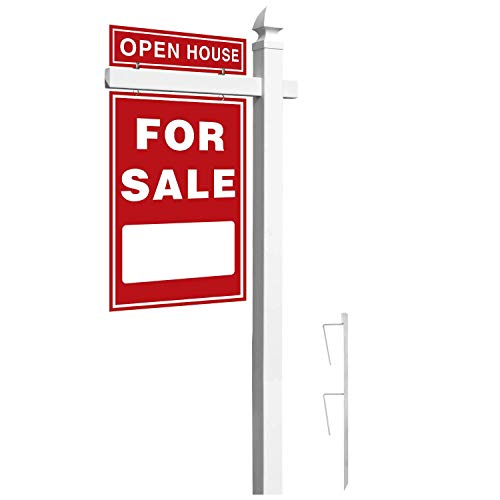 Houseables Real Estate Sign Post, 6� Tall, White, PVC Vinyl, with Gothic Cap, Rider Clips, Outdoor Yard Display, Realtor Signs, for Estate Sales, Open House, Coming Soon, Frame & Stake, Reusable