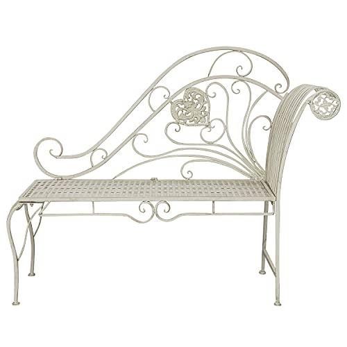 Banco de jardín Chaise Longue Muebles de Hierro Blanco Crema Estilo Antiguo