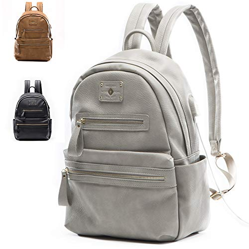 Leatther Diaper Bag by miss fong, Diaper Bag Backpack with USB Charger and Insulated Pockets