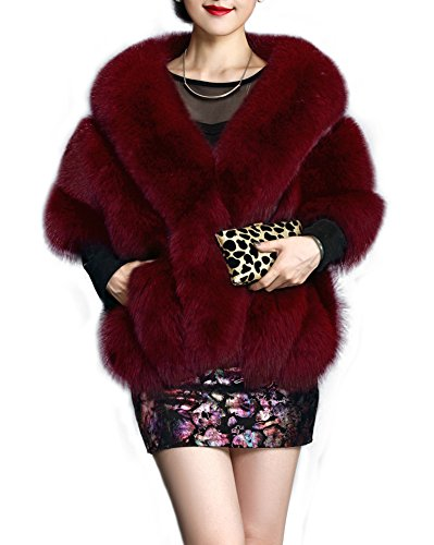 Amore Bridal Women's Luxury Party Faux Fox Fur Long Shawl Cloak Cape for Winter Dark Red